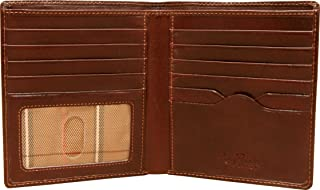 Mens Leather Bifold Hipster Wallet Large with ID Window and Multi Business and Credit Card Holder Slots made with Real Italian Cowhide Leather by Tony Perotti