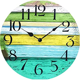 XinsFaith Green and Yellow Rusitic Wood-Vintage Wall Clock-Frameless Wall Clock-Decorative Wall Clock-9.5 Inch Battery Ope...