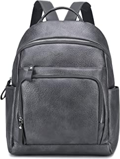Myhozee Damen Rucksack Elegant PU Leder Rucksackhandtasche Casual Wasserdicht Schultasche Daypack Backpack Rucksäcke, Grau