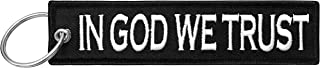 Military in God We Trust Keychain Tag with Key Ring, EDC for Servicemen, Car, Motorcycle (Black)