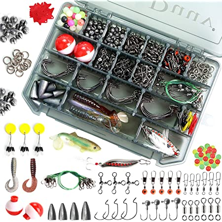 Bobbers,Sinker Slides,Fishing Set with Tackle Box,Fishing Gifts for Men HAPYTHDA 263pcs Fishing Accessories Kit,Including Jig Hooks,Bullet Bass Casting Sinker Weights,Fishing Swivels