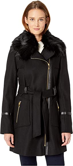 Asymetrical Wool Coat with Faux Fur Collar and Faux Leather Belt