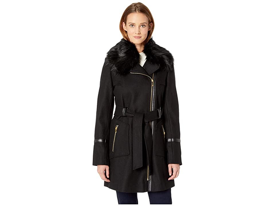 Via Spiga Asymetrical Wool Coat with Faux Fur Collar and Faux Leather Belt (Black) Women's Coat