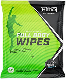 """everyHERO Body and Face Shower Wipes for Adults (20-Count) - Unscented, Extra Large 13""""x12"""", Biodegradable, No Rinse Clean..."""