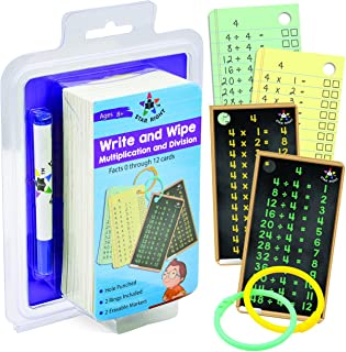 Star Right Multiplication and Division Flash Cards, Write and Wipe Dry Erase Flash Cards Facts 0-12, Hole Punched, 2 Rings...