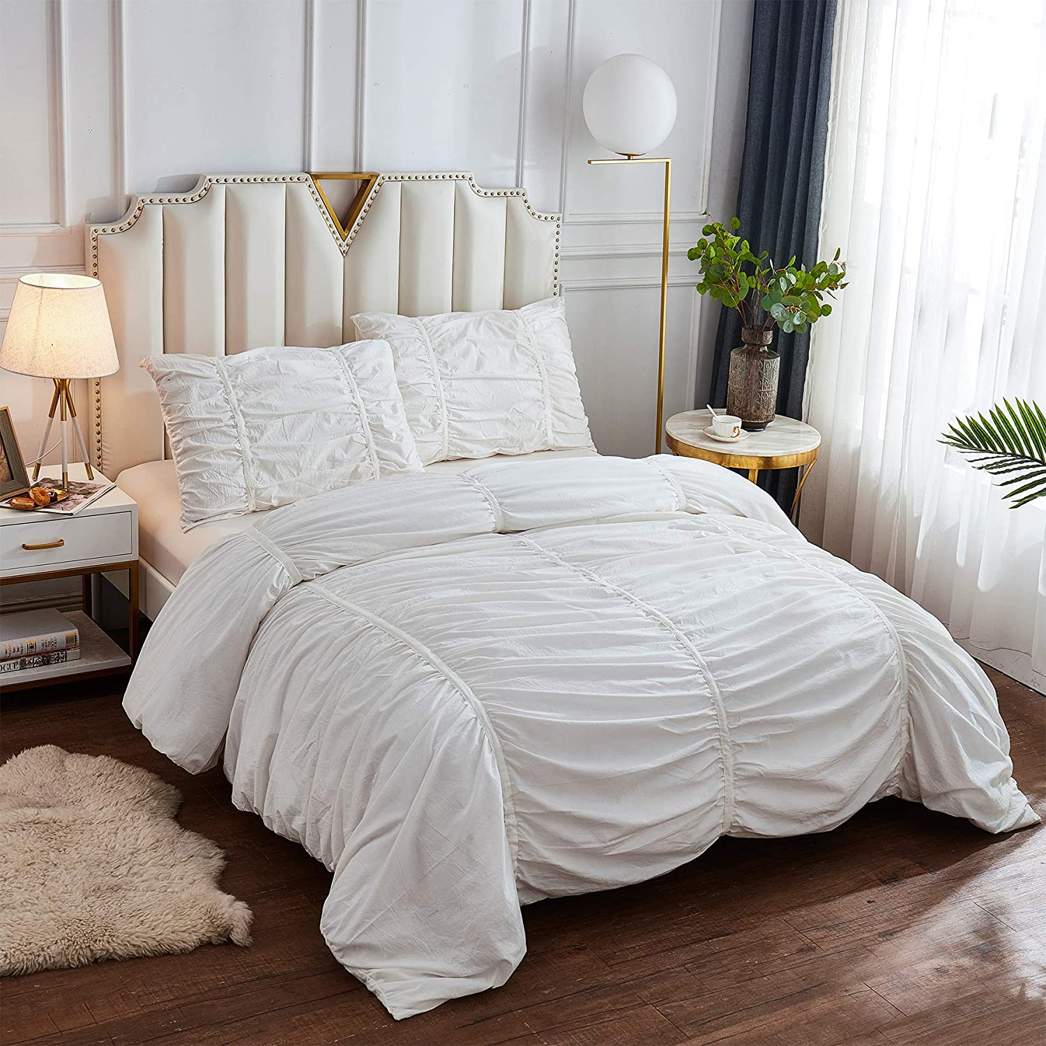 Softta Free shipping on posting reviews Collection Sale special price Chic 3pc Ruched Ruffle Bed Duvet Pleated Cover
