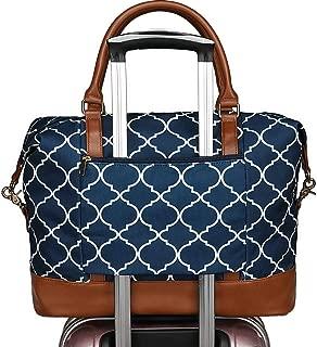 Women Ladies Canvas Weekender Bag Overnight Carry-on Tote Duffel in Trolley Handle