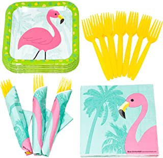 Flamingo Value Party Supplies Pack (58+ Pieces for 16 Guests), Value Party Kit, Flamingo Party Plates, Flamingo Birthday, ...