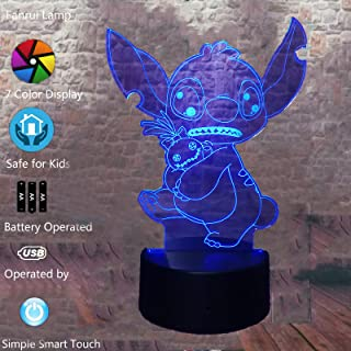Fanrui Lilo and Stitch Elvis Teddy Nifty Stitch Dog with Cute Scrump 7 Color Change Action Figure Night Light LED RGB Touch Base with IR Remote Control Home Boys Girls Room Decor Child Kids Xmas Gifts