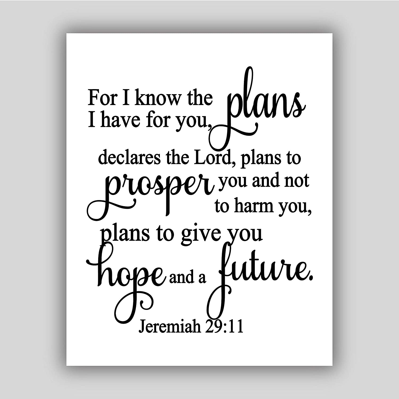 Jeremiah 29:11 art print, art prints inspirational, art prints motivational art print, religious art print, art prints quote, UNFRAMED
