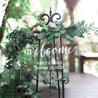 Clear Welcome Sign for Wedding, Glass Look Personalized Sign Modern Wedding Decoration Sign Clear Acrylic Welcome Sign