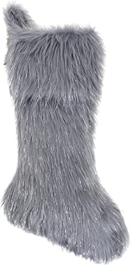 Fennco Styles Holiday Christmas Decorative Exquisite Faux Fur with Silver Metallic Thread Grey Christmas Stocking 8 x 19 Inch
