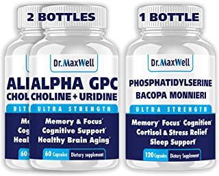 Alpha GPC & Uridine 2x60ct + Phosphatidylserine & Bacopa 1x120ct, 2 Months, Much Better Than Each Ingredient Alone, Four S...