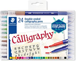 Staedtler 3005 TB24 Double Fibre-Tip Calligraphy Pen 24 Bright Colours
