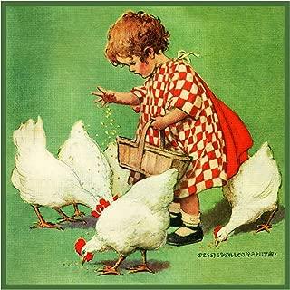 Orenco Originals Girl Feeding Chickens by Jessie Willcox Smith Counted Cross Stitch Pattern