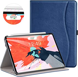 Ztotop for iPad Pro 12.9 Case 2018, Leather Folio Stand Case Smart Cover for 2018 iPad Pro 12.9-inch 3rd Generation (Supports iPad Pencil Charging) with Auto Sleep/Wake Strap Pocket - Navy Blue