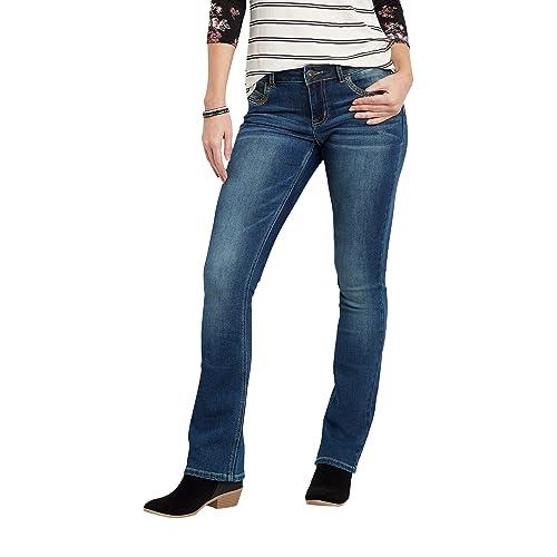 b5ff1f941c7 maurices Women s Denimflex Asymmetrical Back Flap Pocket Slim Boot Jeans