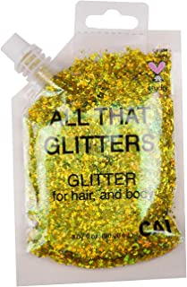 New Hair and Body Glitter Bag Pouch Holographic Cosmetic Grade Glamour (GOLD)