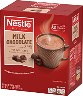 Nestle Hot Chocolate Mix, Hot Cocoa, Milk Chocolate Flavor, Made with Real Cocoa, 0.71 oz Packets (Pack of 60)