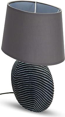 BRUBAKER Lampe de Table, de Chevet - Lot de 2 - Abat-jour Anthracite et Pied de la Céramique Anthracite - Hauteur 38 cm