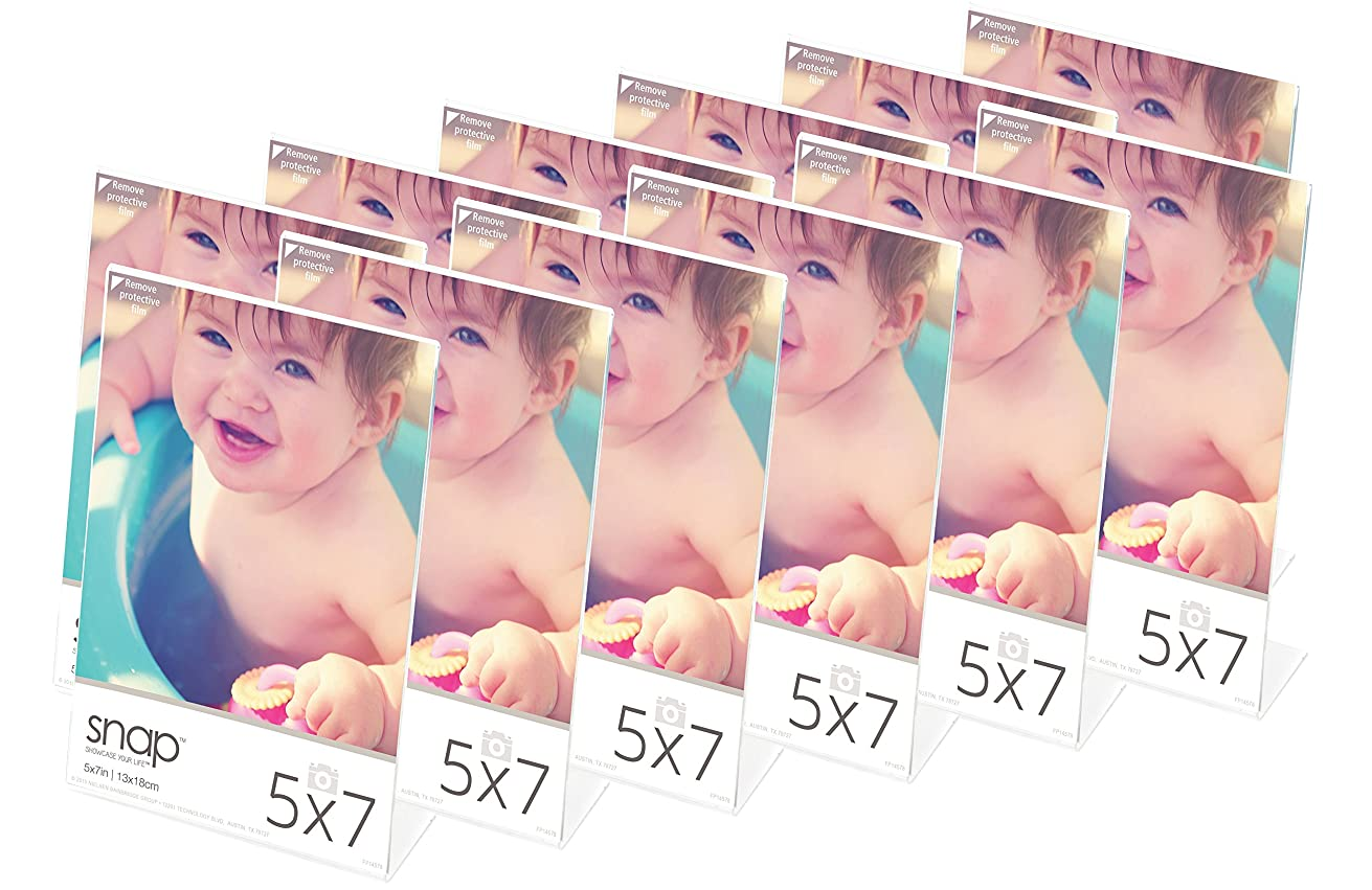 Snap 5x7 Clear Self Standing, Set of 12 Acrylic Frame, 5 inches x 7 inches,