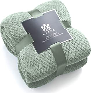 Kingole Flannel Fleece Luxury Throw Blanket, Laurel Green Twin Size Jacquard Weave Pattern Cozy Couch/Bed Super Soft and Warm Plush Microfiber 350GSM (66 x 90 inches)
