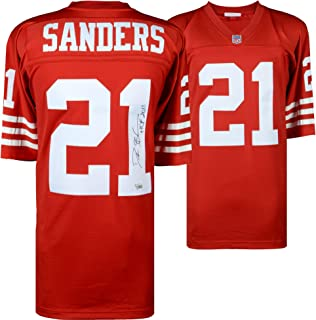 Deion Sanders San Francisco 49ers Autographed Mitchell & Ness Red Replica Jersey with
