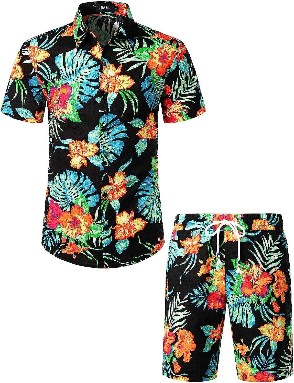 Vintage Men's Swimsuits – 1930s, 1940s, 1950s History JOGAL Mens Flower Casual Button Down Short Sleeve Hawaiian Shirt Suits  AT vintagedancer.com