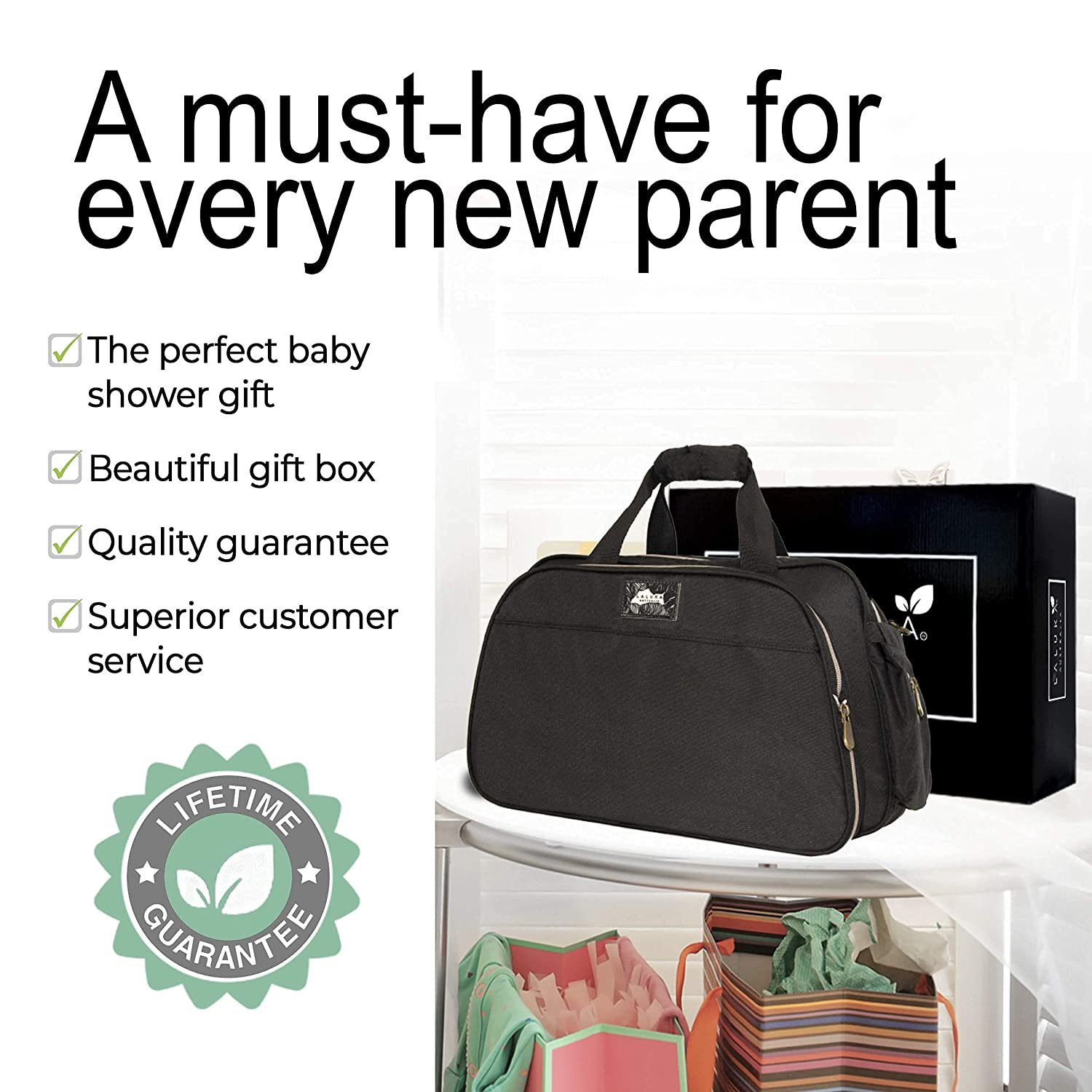 Laluka Australia Diaper Bag with Changing Station - Backpack Baby Bag with Bassinet