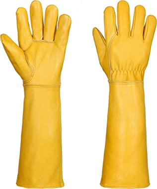 Gardening Gloves for Women / Men- Alomidds Rose Pruning Thorn & Cut Proof Elbow Length Durable Cowhide Leather Garden Wor