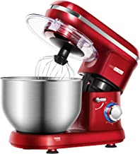 VIVOHOME 6-Qt. Stand Mixer, 650W 6-Speed Tilt-Head Kitchen Electric Food Mixer with Beater, Dough Hook and Wire Whip, Red, ETL Listed