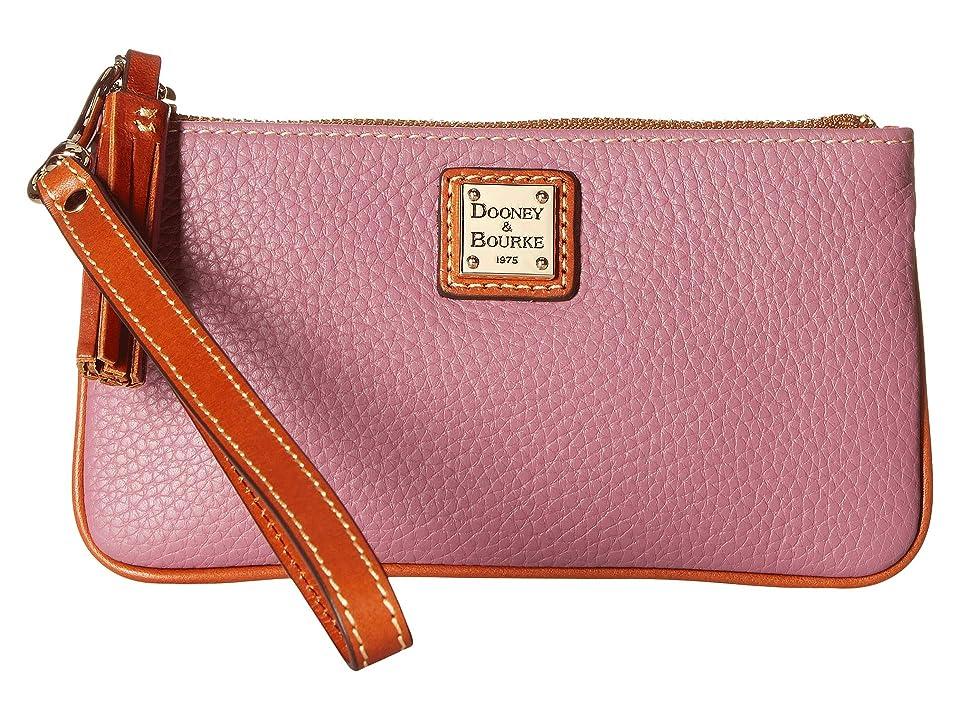 Dooney & Bourke Pebble Small Carrington Wristlet (Dark Mauve/Tan Trim) Wristlet Handbags