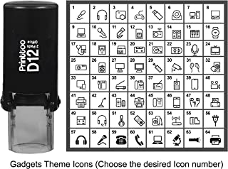 Printtoo PersonalizedGadgets Theme IconsRound Rubber Stamp Self Inking Stamper 12 mm-Black