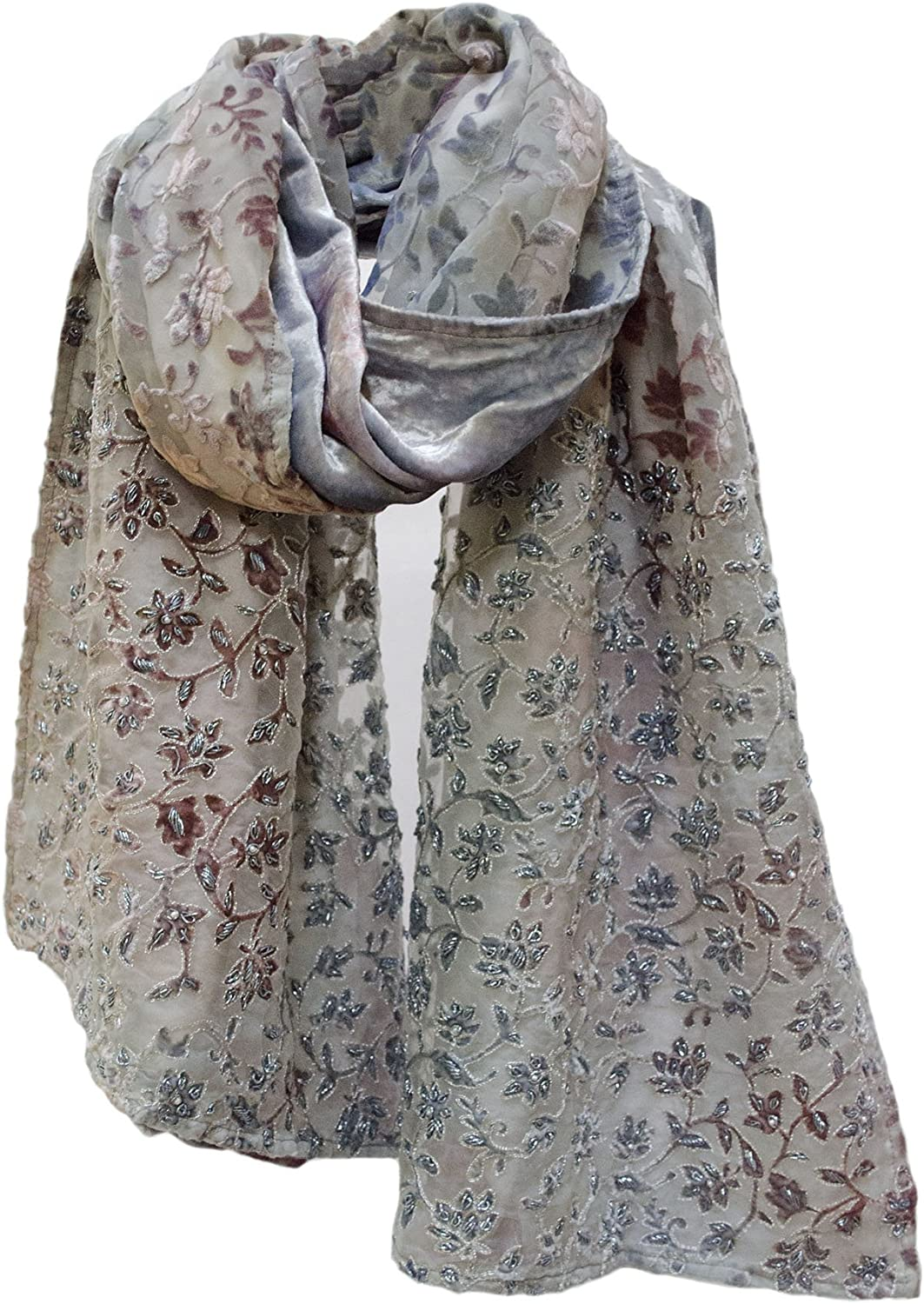 Beaded Floral Burnout Cut Velvet Shawl Wrap Stole Scarf Runner Steel bluee Coffee Pink