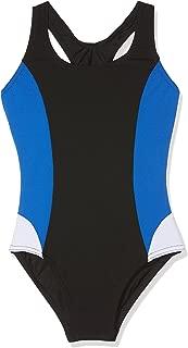 Costume da Nuoto Modello Henley Blu a Righe Zoggs Blu con Incrocio sulla Schiena e Dorso Aperto da Bambina