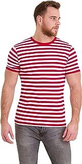 Mens 60's Retro Red & White Striped Short Sleeve T Shirt