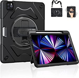 iPad Pro 11 Case 2021 3rd Generation: Upgraded Military Grade Shockproof Protector Silicone Cover for iPad Pro 11 inch 2020/2021 - Handle/Shoulder Strap/Rotating Kickstand
