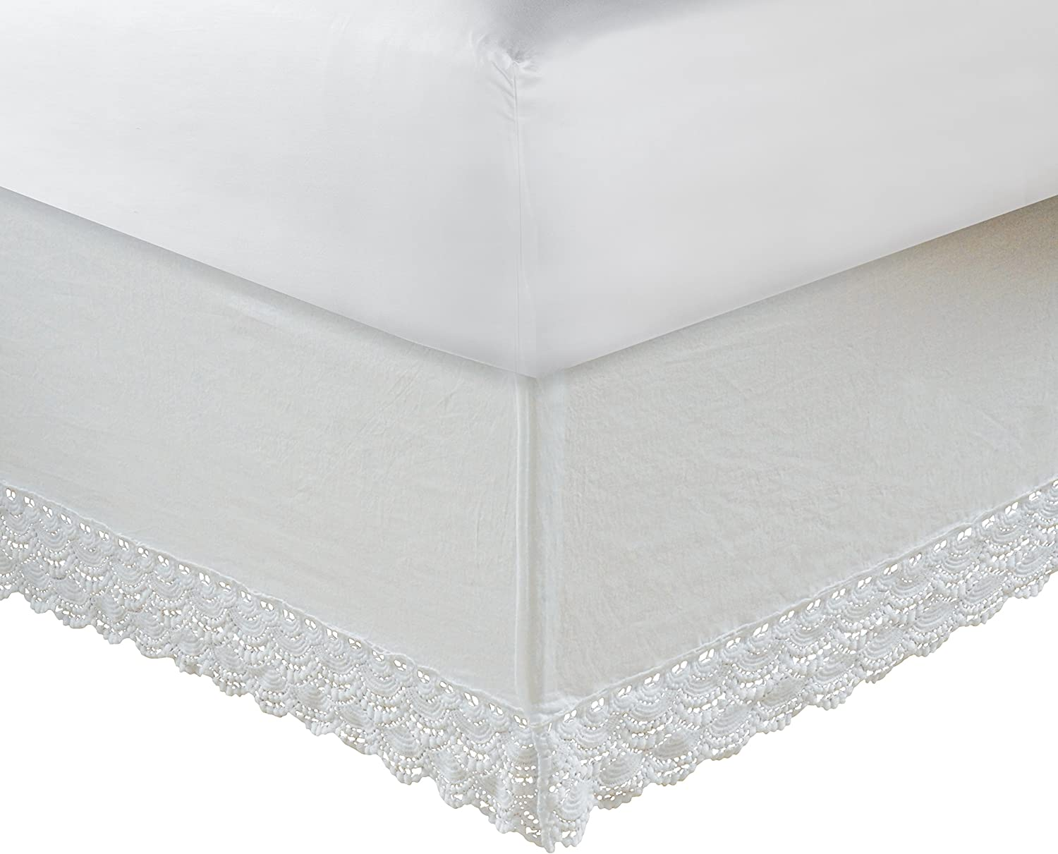 Greenland Home Crochet Lace Bed Skirt, Twin, White