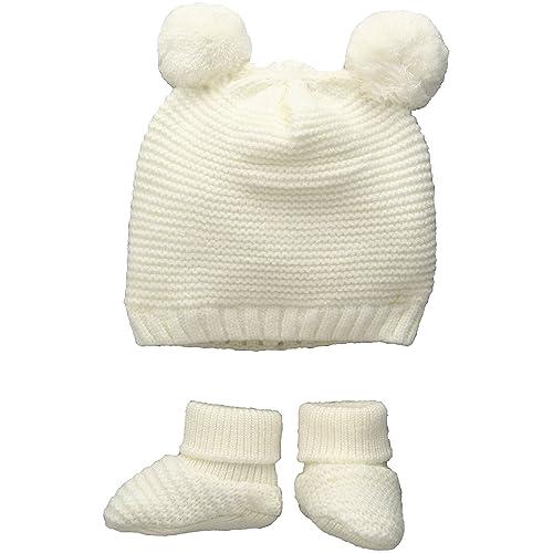 TOBY   Company Baby Nygb Double Pom Garter Stitch Hat   Bootie 2 Pc Set fb74bdd4e6f3