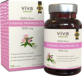 Evening Primrose Oil Capsules with GLA (1300 mg), Helps Support Hormone Balance for Women, Cold-Pressed, Gluten-Free & Non-GMO, 120 Softgels