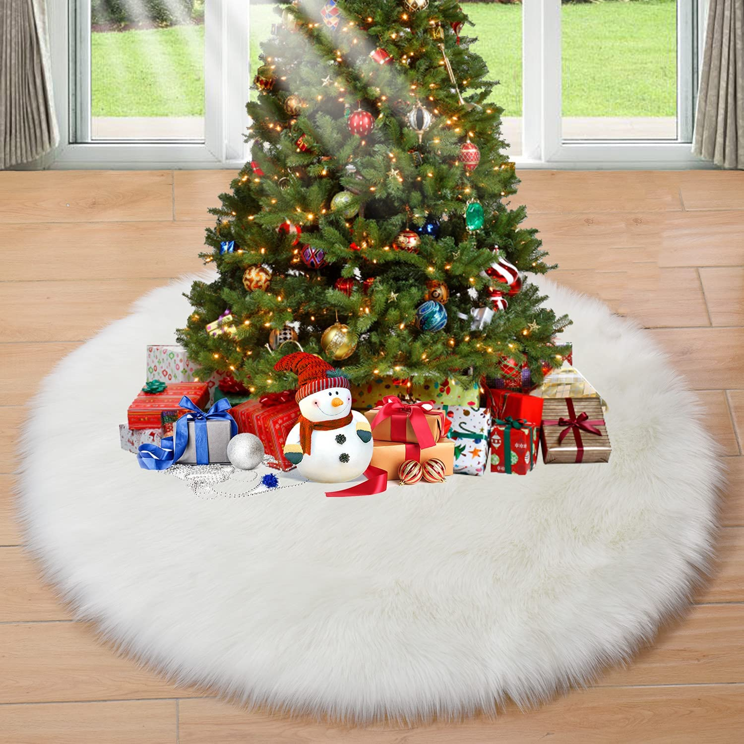 Max 69% OFFicial mail order OFF HOPEME Christmas Tree Skirt 48 Inch Plush Classic Faux White Fur