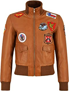 Carrie CH Hoxton Chaqueta de Cuero Top Gun para Damas Jet Fighter Bomber Navy Air Force Pilot 100% Piel de Cordero