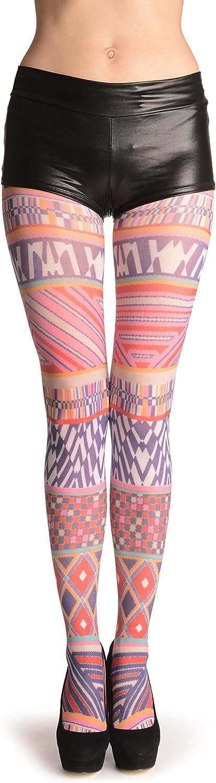 Geometrical Print Stripes - Pantyhose (Tights)