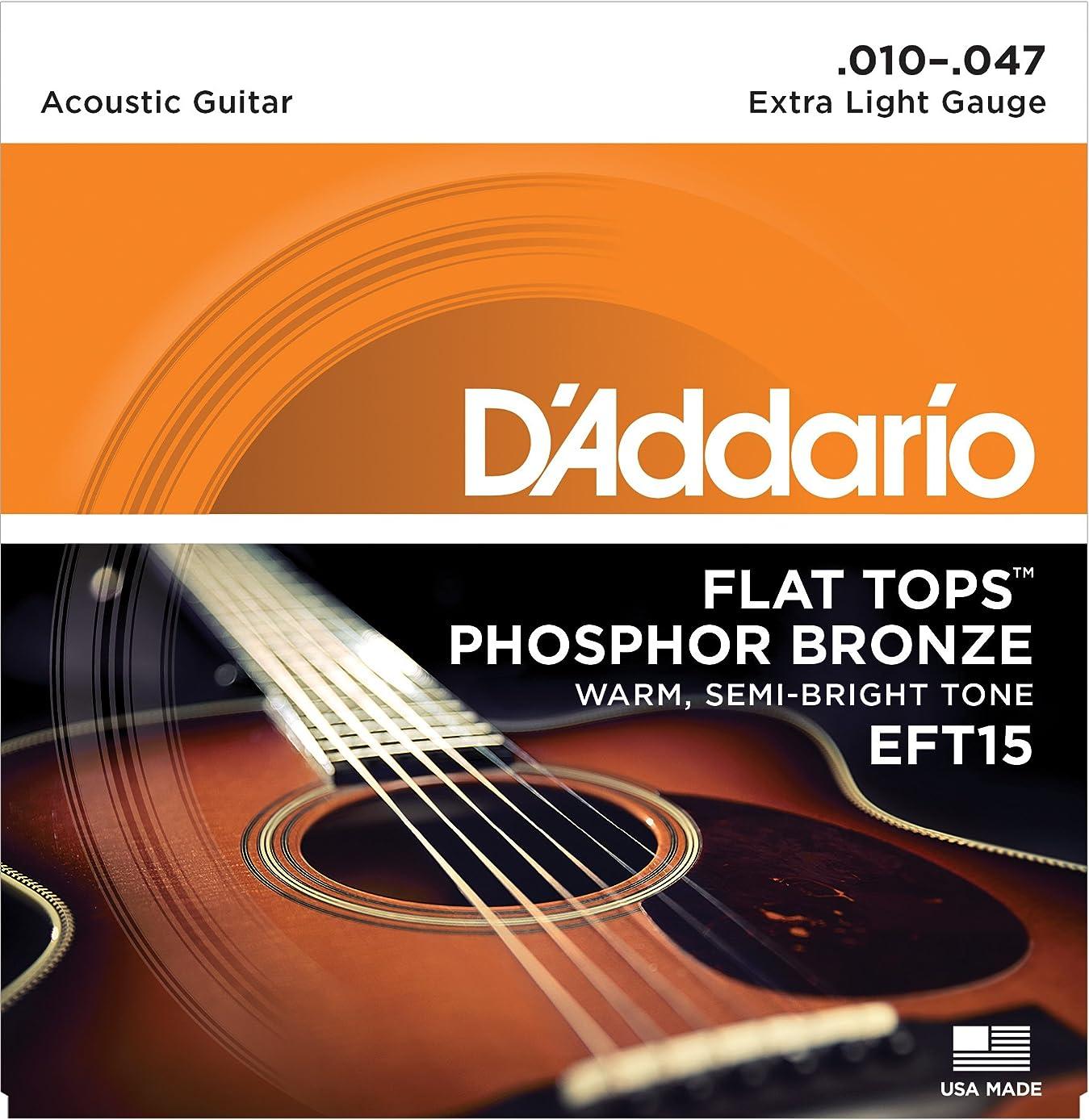 自己尊重ストローバウンスD'Addario ダダリオ アコースティックギター弦 Flat Tops フォスファーブロンズ Extra Light .010-.047 EFT15 【国内正規品】