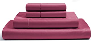 800-Thread-Count Best 100% Egyptian Cotton Bed Sheet Set - Burgundy Long-staple Cotton King Sheet For Bed, Fits Mattress Upto 16'' Deep Pocket, Soft Sateen Weave 4-Piece Sheets & Pillowcase Set