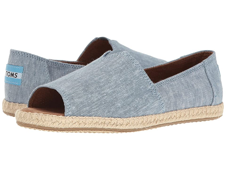 TOMS Alpargata Open Toe (Blue Slub Chambray) Women