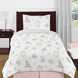 Sweet Jojo Designs Blush Pink and Grey Woodland Boho Dream Catcher Arrow Gray Bunny Floral Girl Twin Size Kid Childrens Bedding Comforter Set - 4 Pieces - Watercolor Rose Flower