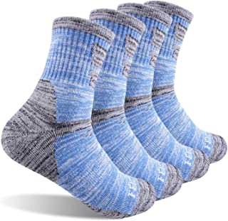 Women's Hiking Walking Socks,  FEIDEER 4-Pack Outdoor Recreation Socks Wicking Cushion Crew Socks