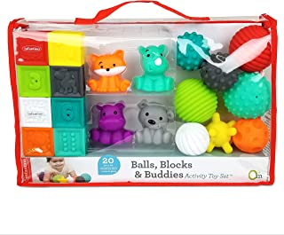 Infantino Sensory Balls Blocks & Buddies - 20 piece basics set for sensory exploration, fine and gross motor skill develop...