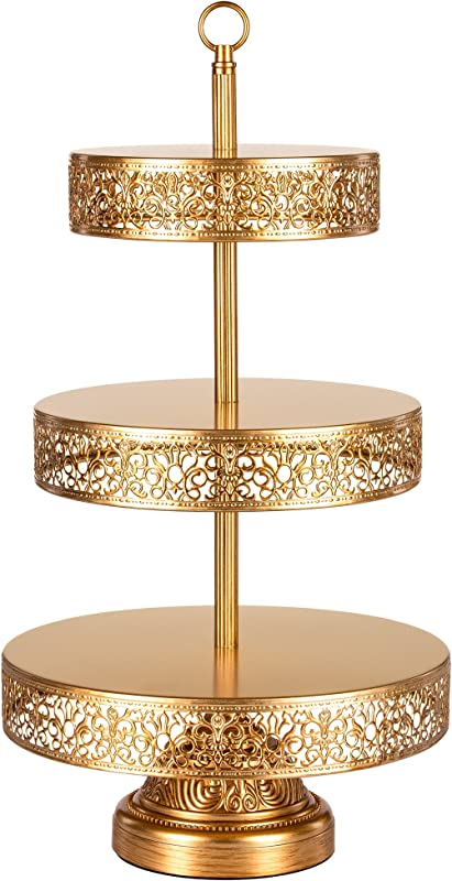 Amalfi Decor 3 Tier Dessert Cupcake Stand Large Pastry Candy Cookie Tower Holder Plate For Wedding Event Birthday Party Round Metal Pedestal Tray Gold